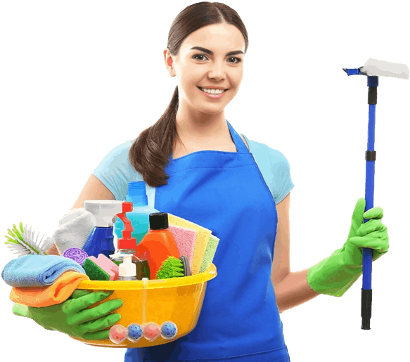 housekeeping worker with cleaning products